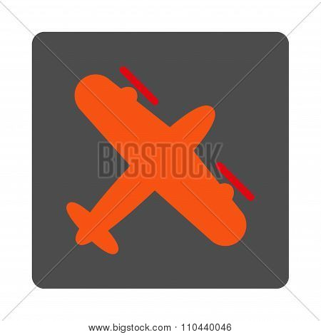 Screw Aeroplane Rounded Square Button