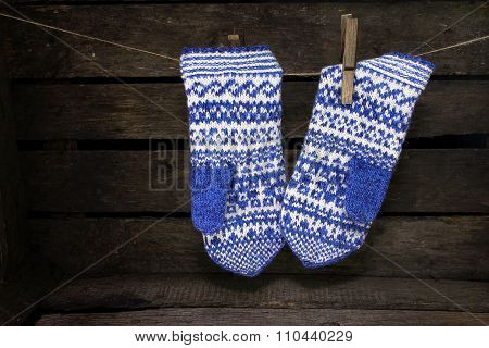 Jacquard Mittens Hanging On A Rope