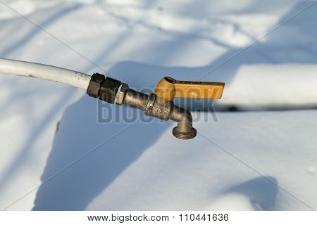 Water Tap In The Winter