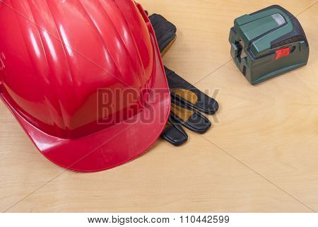Construction Helmet And Laser Level