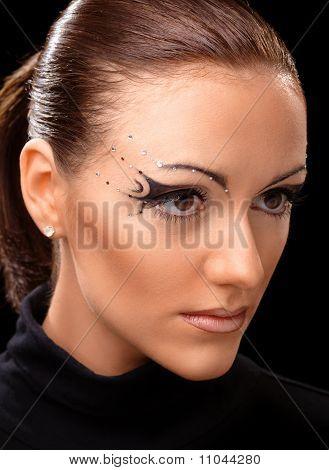 Beautiful Young Girl With Podium Makeup