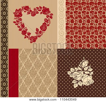 Vector set of vintage elements for design. Four of seamless pattern.