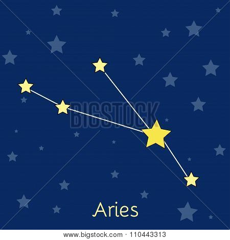 Aries Fire Zodiac  Constellation With Stars In Cosmos. Vector Image