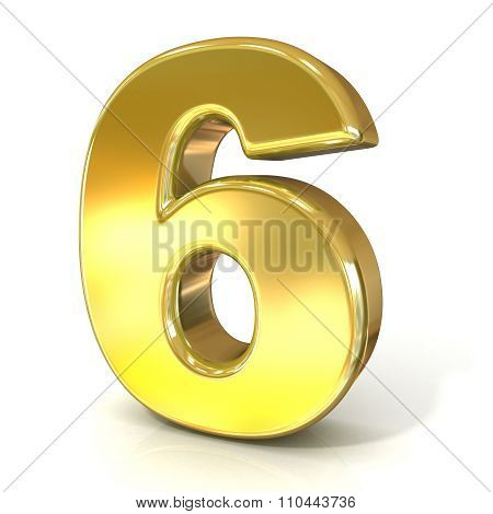 Numerical digits collection 6 - SIX. 3D golden sign