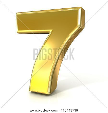 Numerical digits collection 7 - SEVEN. 3D golden sign