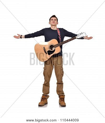 Guitarist With Yellow Acoustic Guitar H
