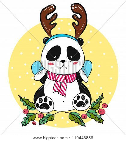 Vector Christmas panda bear with antlers in the snow.