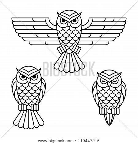 Owl Line Icon Set