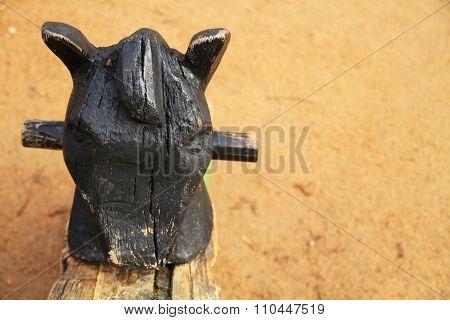 Seesaw horse head at children playground.
