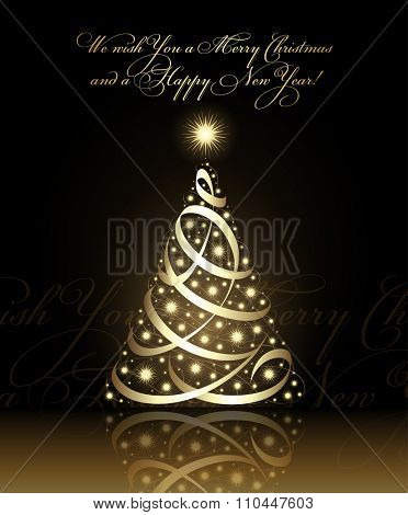 We wish you a Merry Christmas and a Happy New Year card with gold christmas tree, vector