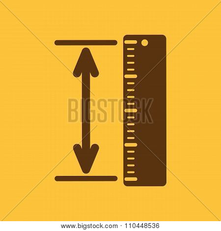The measuring height and length icon. Ruler, straightedge, scale symbol. Flat