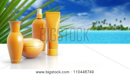 sun lotions in a tropical background