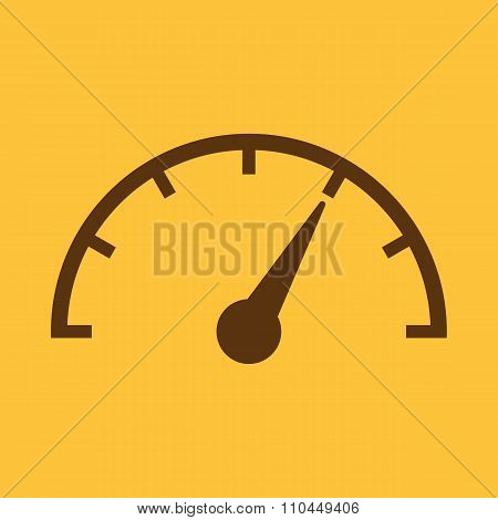 The tachometer, speedometer and indicator icon. Performance measurement symbol. Flat