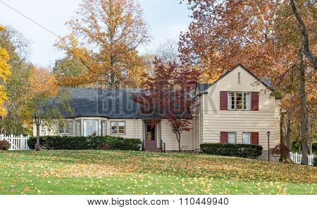Autumn Country House in Woods