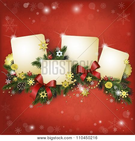 Realistic Vector Multilayer Card For The Winter Holidays In Red And Gold
