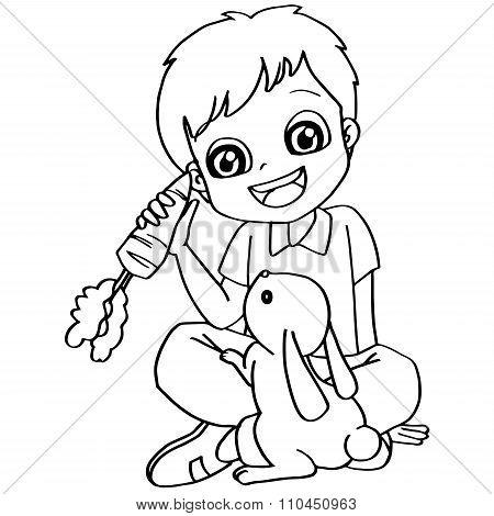 Coloring book child feeding rabbit vector