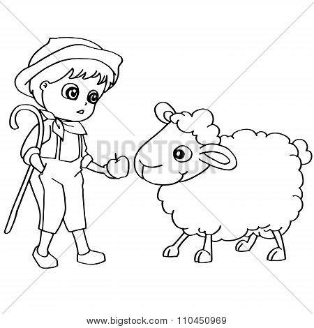 Coloring book child feeding sheeps vector