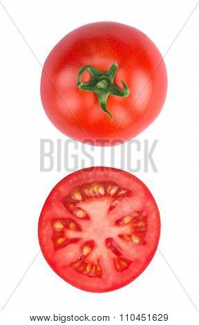 Sliced Tomatoe Isolated On White Background Top View