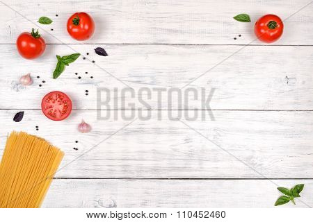 Italian Pasta Ingredients On White Wooden Table, Top View
