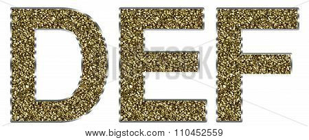 Capital DEF letters made of gold and silver frame