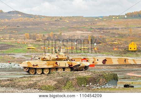Tank T-90S in motion. Russia