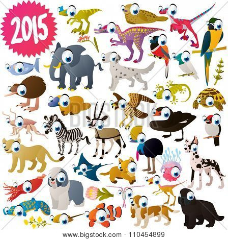 vector isolated cute cartoon funny animals collection set. African animal, dogs, sea life animals, birds and dinosaurs. For kids apps, books or illustration for nature lovers.