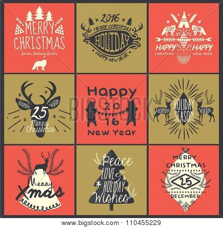 Calligraphic Christmas Greeting Design Elements in Vintage Style