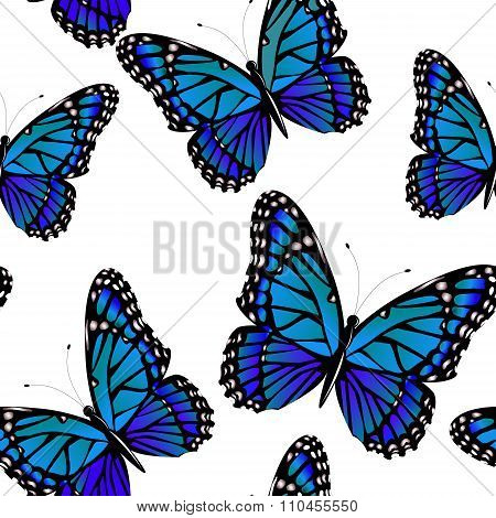 Seamless pattern with bright monarch butterflies