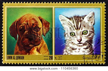 Postage Stamp Umm Al-quwain 1972 Puppy And Kitty