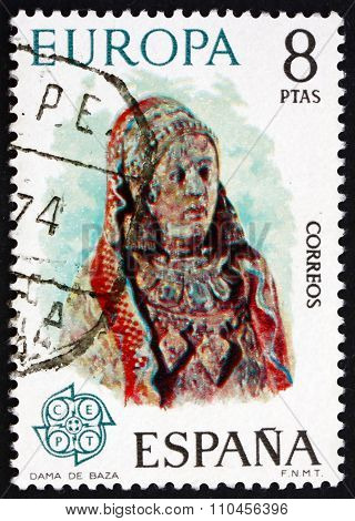 Postage Stamp Spain 1974 Woman From Baza, Painted Sculpture