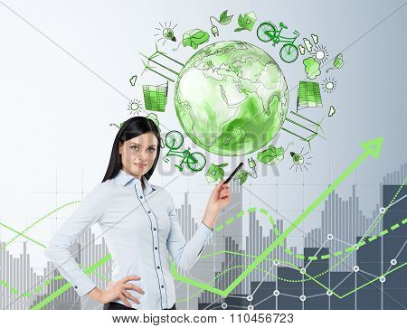 Woman In Front Of Eco Energy Icons, Clean Environment