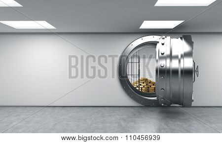 Open Round Metal Safe With Gold Bars Inside, Bank Depository