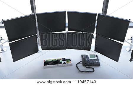 Office With Switched Off Monitors, Processing Data, Trading,  New York