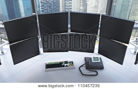 Office With Switched Off Monitors, Processing Data, Trading,  Singapore
