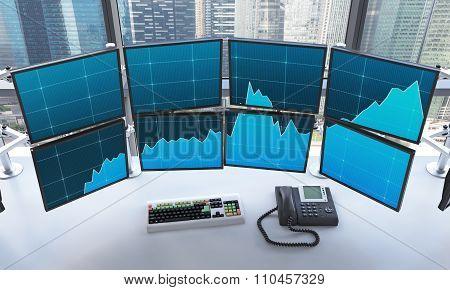 Office With Switched On Monitors, Processing Data For Trading,  Singapore