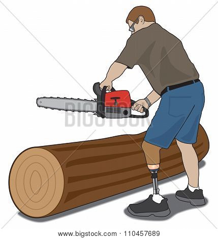 Amputee With Chainsaw
