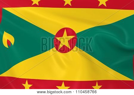 Waving Flag Of Grenada - 3D Render Of The Grenadian Flag With Silky Texture