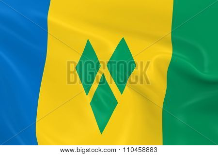 Waving Flag Of Saint Vincent And The Grenadines - 3D Render Of The Saint Vincentian Flag With Silky