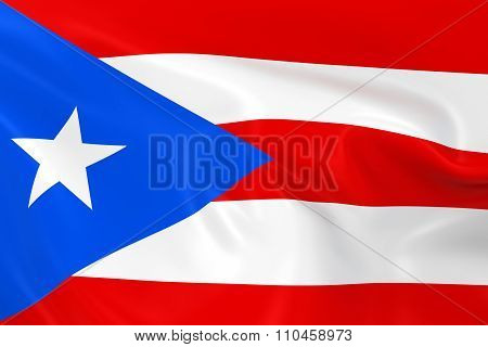 Waving Flag Of Puerto Rico - 3D Render Of The Puerto Rican Flag With Silky Texture