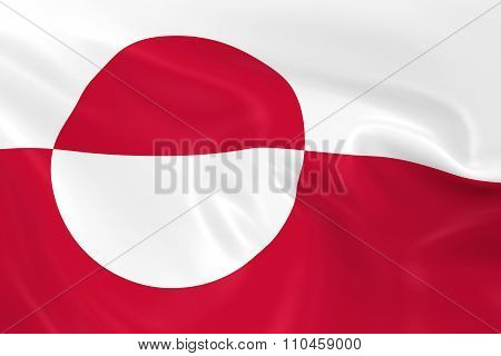 Waving Flag Of Greenland - 3D Render Of The Greenlandic Flag With Silky Texture