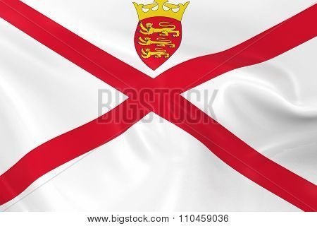 Waving Flag Of Jersey - 3D Render Of The Jersey, Channel Islands Flag With Silky Texture
