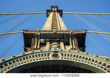 Manhattan Bridge Tower Detail With Arch And Cables, New York