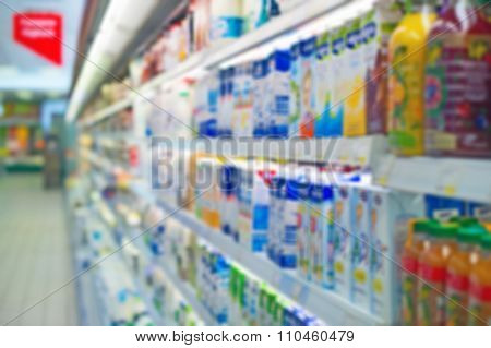 Blurred Shelves With Milk Products In The Store. Suitable For Background.