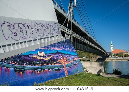 Bratislava Cityscape With Painting Of The City On The New Bridge