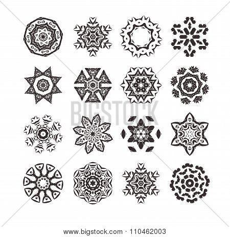 Geometric circular ornament set. Bw