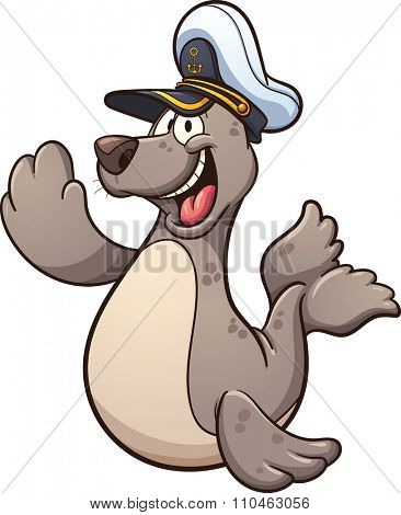 Happy cartoon seal wearing a captain hat. Vector clip art illustration with simple gradients. Seal and hat on separate layers.