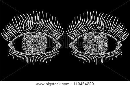 Zentangle Eye Long Eyelashes 3