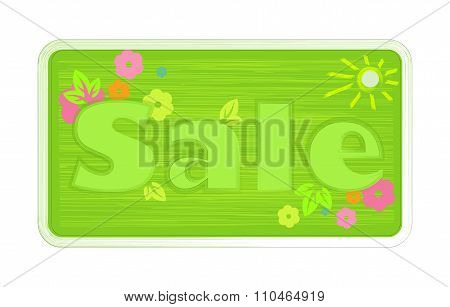 Vector Bright Green Spring Colors Inscription Word Sale, Painted With A Brush On The Label Shtrihami