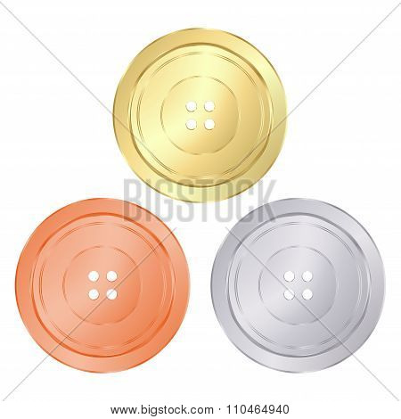 Vector Classic Round Sewing Buttons Of Gold, Silver, Bronze