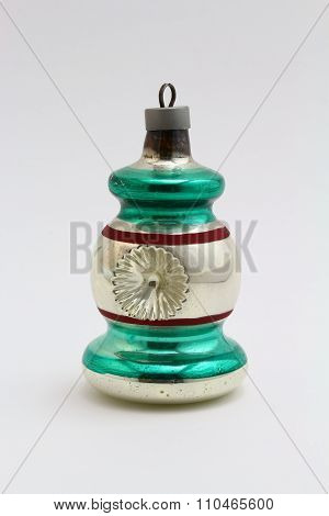 Antique ornament bell green red stripe